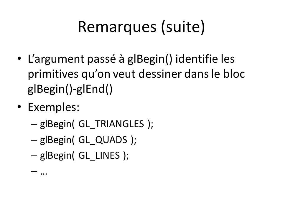 Remarques (suite) L'argument passé à glBegin() identifie les primitives qu'on veut dessiner dans le bloc glBegin()-glEnd()