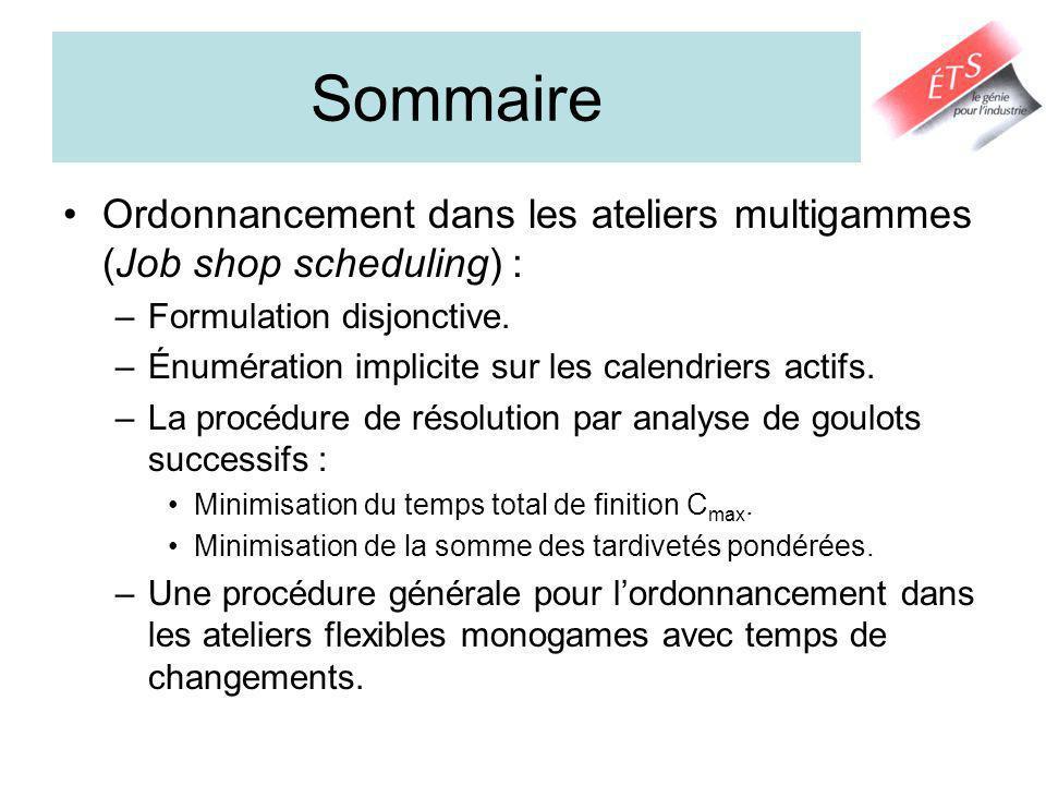 Sommaire Ordonnancement dans les ateliers multigammes (Job shop scheduling) : Formulation disjonctive.