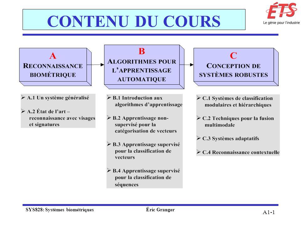 CONTENU DU COURS SYS828: Systèmes biométriques Éric Granger