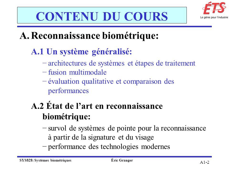 CONTENU DU COURS Reconnaissance biométrique:
