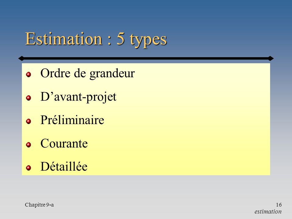 Estimation : 5 types Ordre de grandeur D'avant-projet Préliminaire