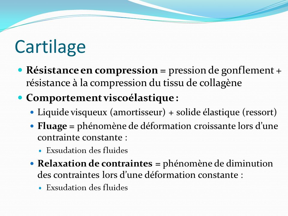 Cartilage Résistance en compression = pression de gonflement + résistance à la compression du tissu de collagène.