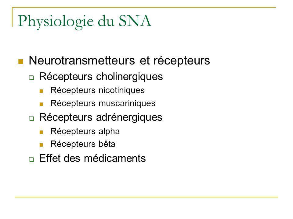 Physiologie du SNA Neurotransmetteurs et récepteurs