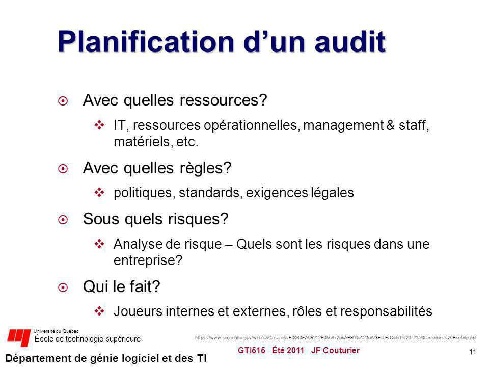 Planification d'un audit