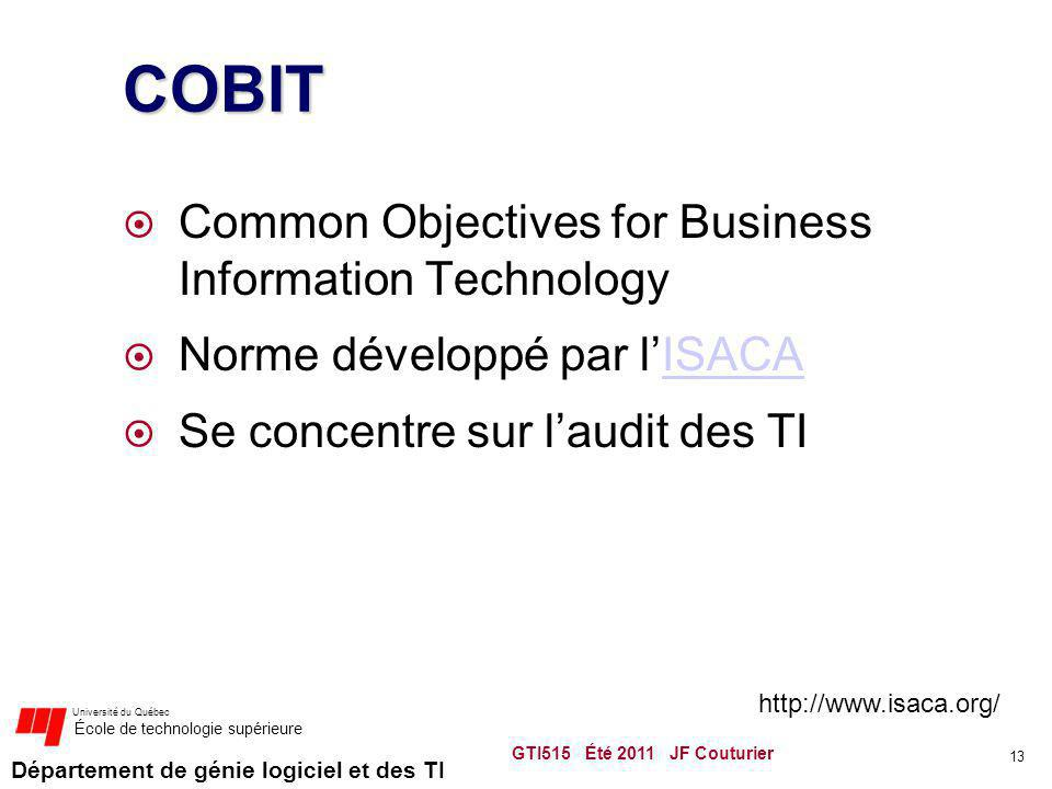 COBIT Common Objectives for Business Information Technology