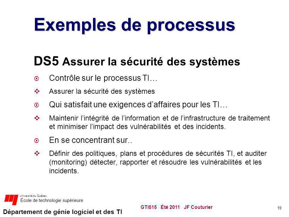 Exemples de processus DS5 Assurer la sécurité des systèmes