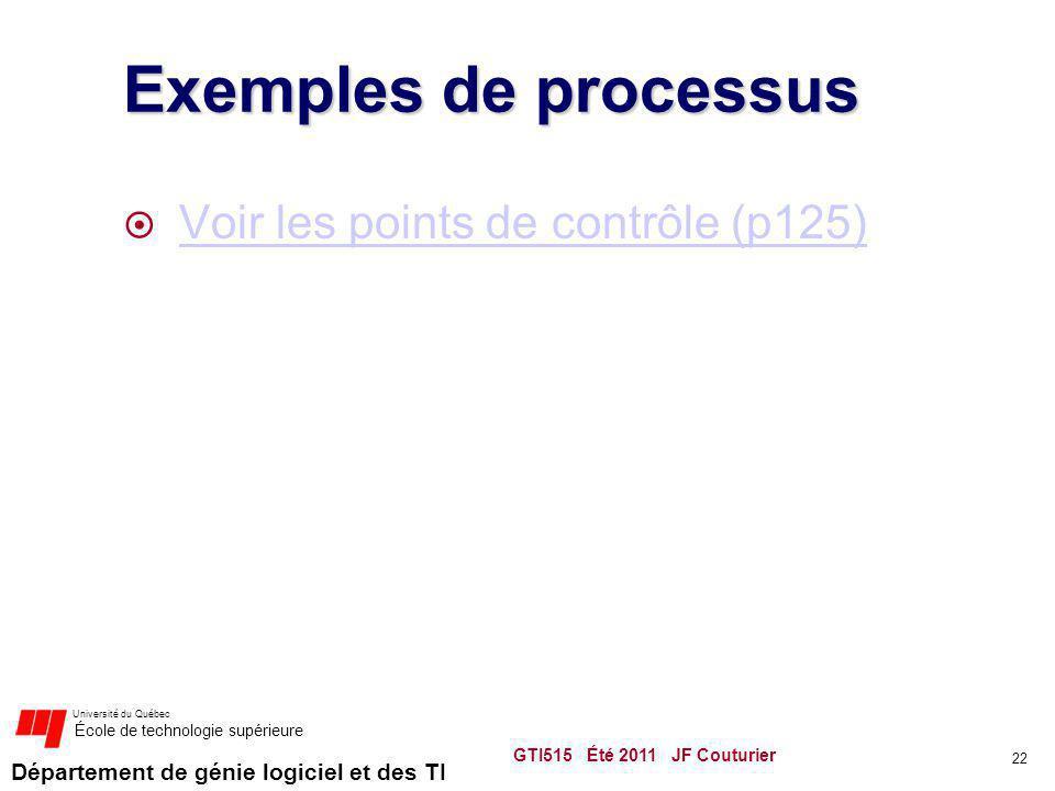 Exemples de processus Voir les points de contrôle (p125)