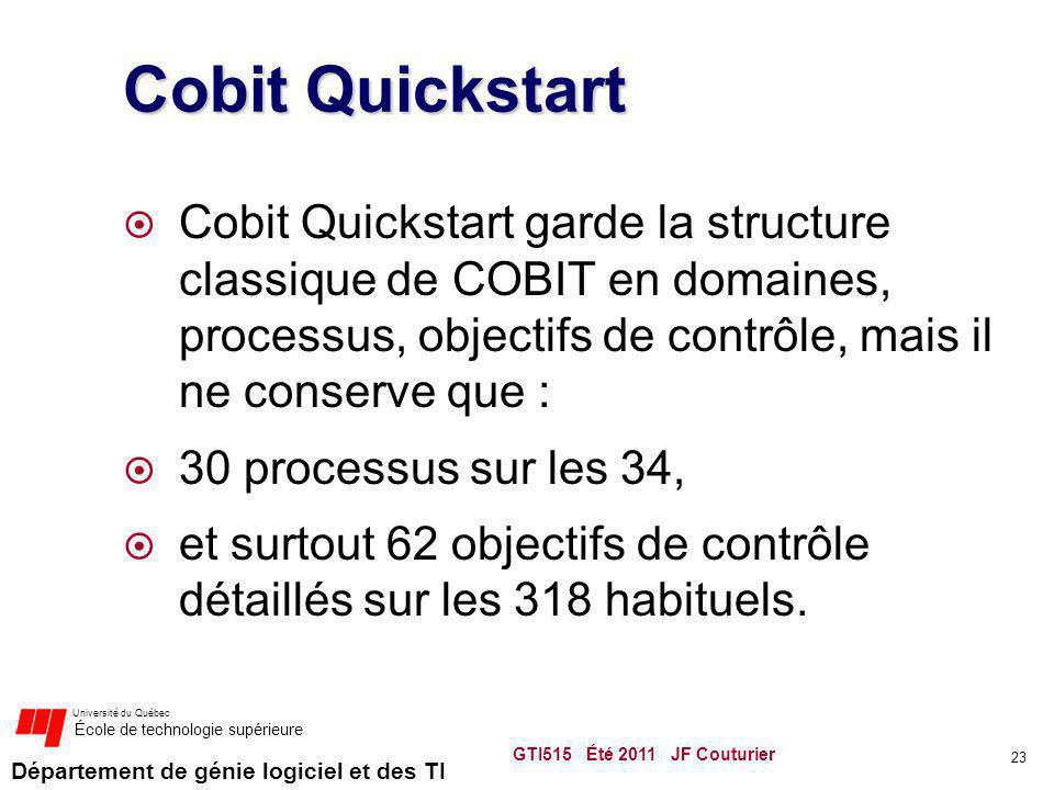 Cobit Quickstart Cobit Quickstart garde la structure classique de COBIT en domaines, processus, objectifs de contrôle, mais il ne conserve que :