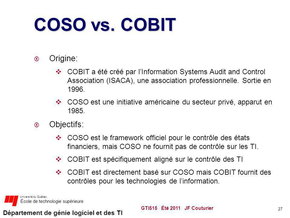 COSO vs. COBIT Origine: Objectifs: