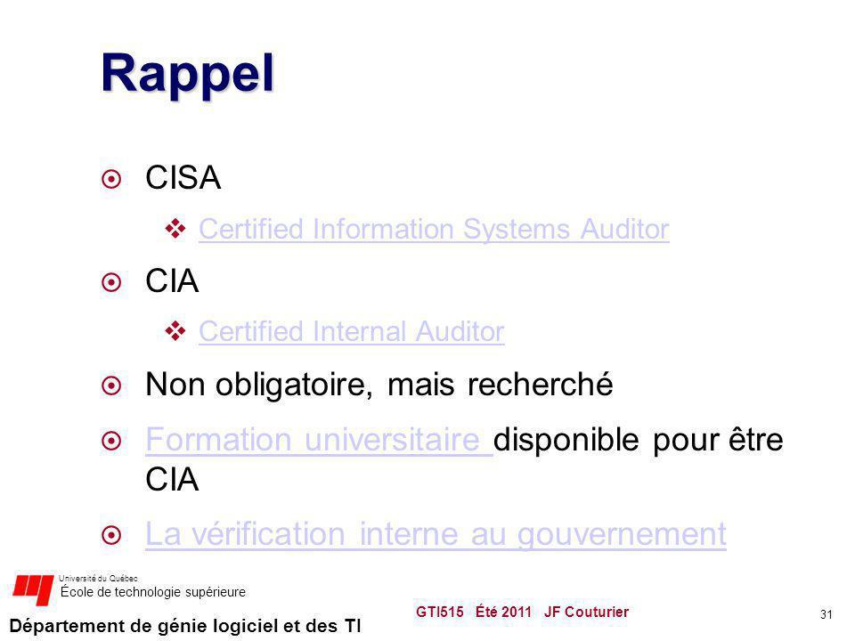 Rappel CISA CIA Non obligatoire, mais recherché