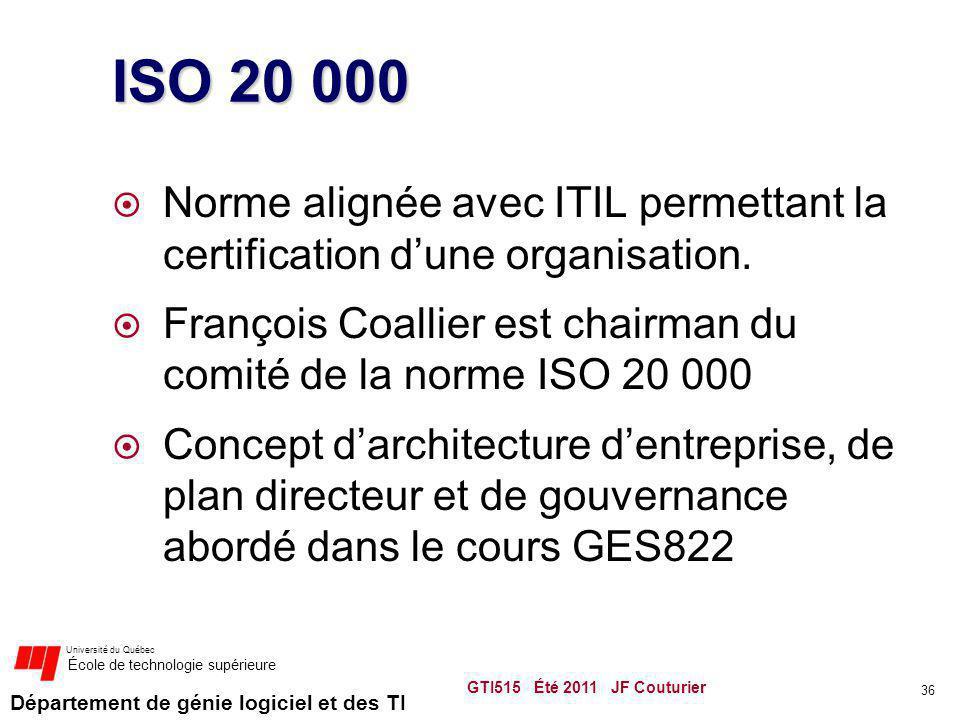 ISO 20 000 Norme alignée avec ITIL permettant la certification d'une organisation. François Coallier est chairman du comité de la norme ISO 20 000.