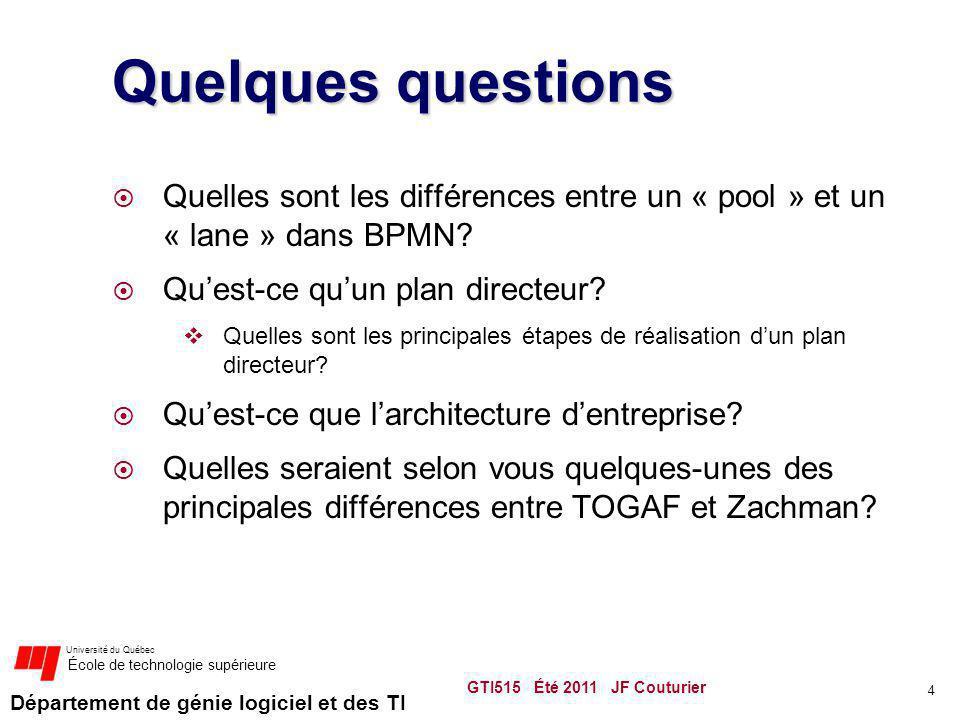 Quelques questions Quelles sont les différences entre un « pool » et un « lane » dans BPMN Qu'est-ce qu'un plan directeur