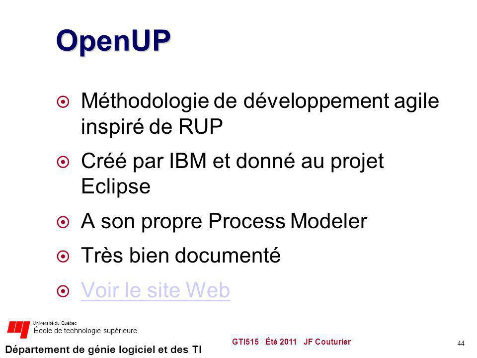 OpenUP Méthodologie de développement agile inspiré de RUP