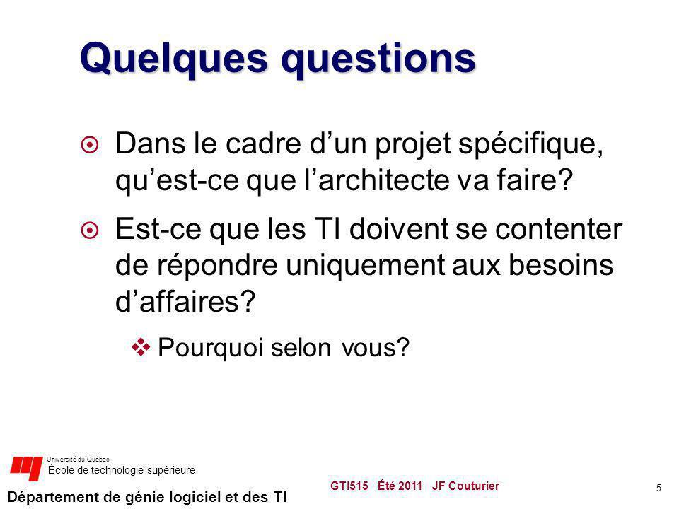 Quelques questions Dans le cadre d'un projet spécifique, qu'est-ce que l'architecte va faire