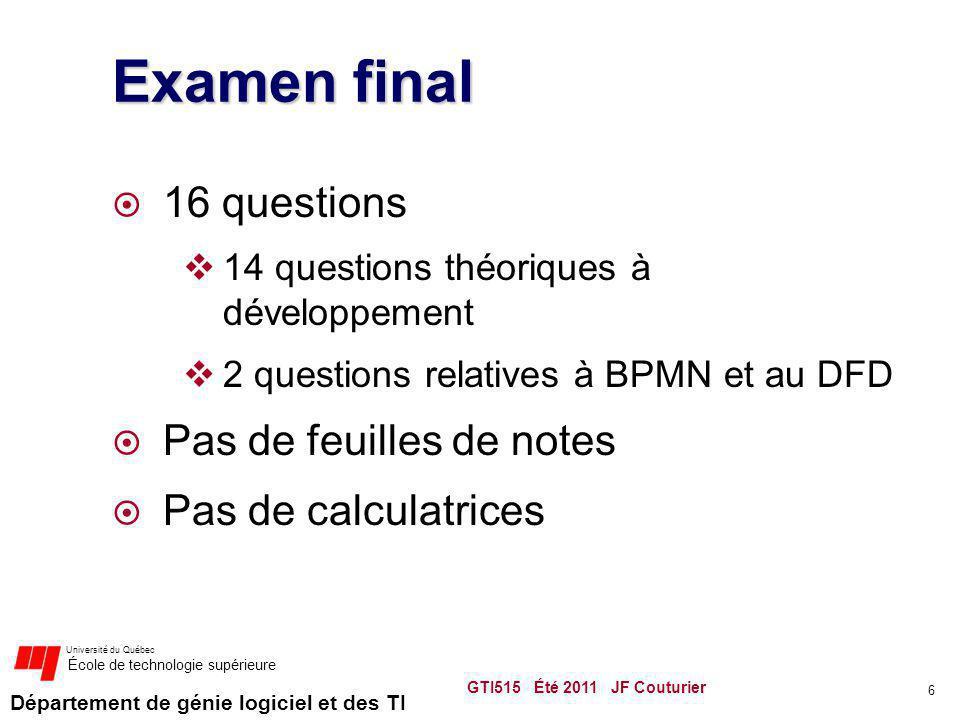 Examen final 16 questions Pas de feuilles de notes