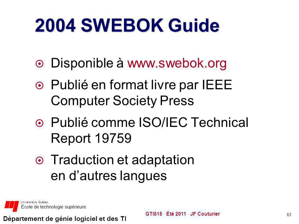2004 SWEBOK Guide Disponible à www.swebok.org