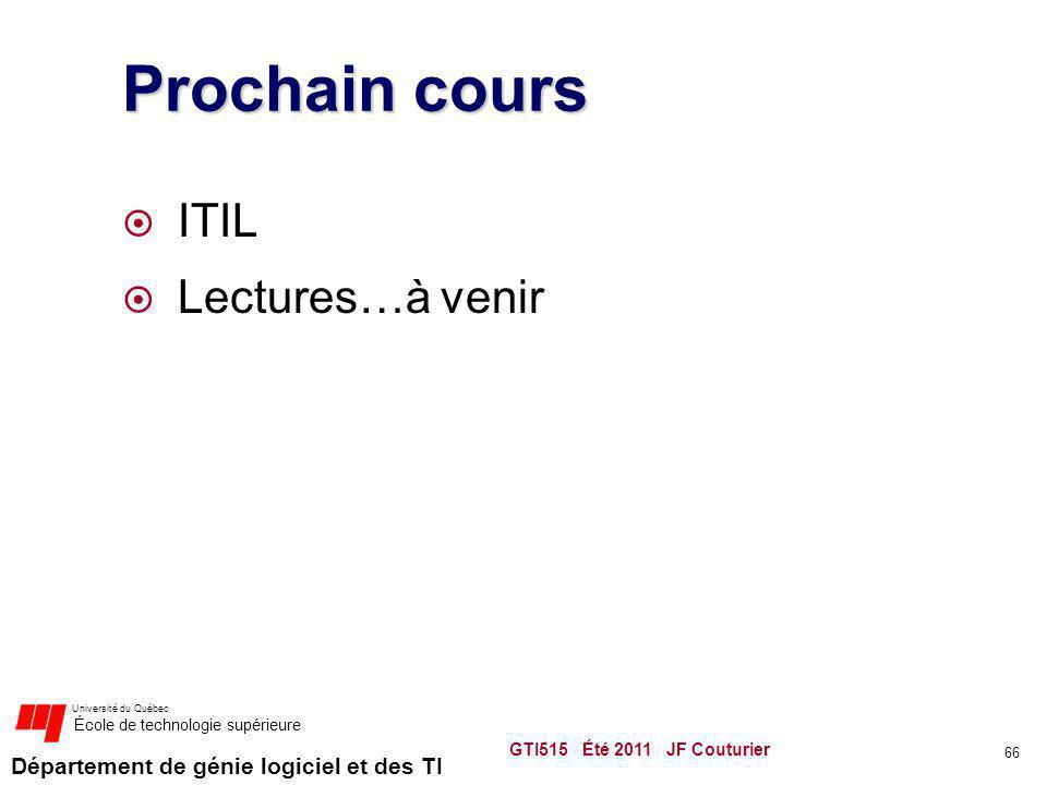 Prochain cours ITIL Lectures…à venir GTI515 Été 2011 JF Couturier