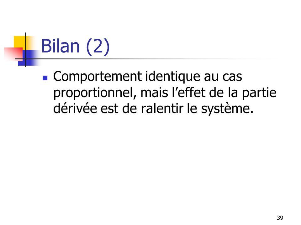 Bilan (2) Comportement identique au cas proportionnel, mais l'effet de la partie dérivée est de ralentir le système.