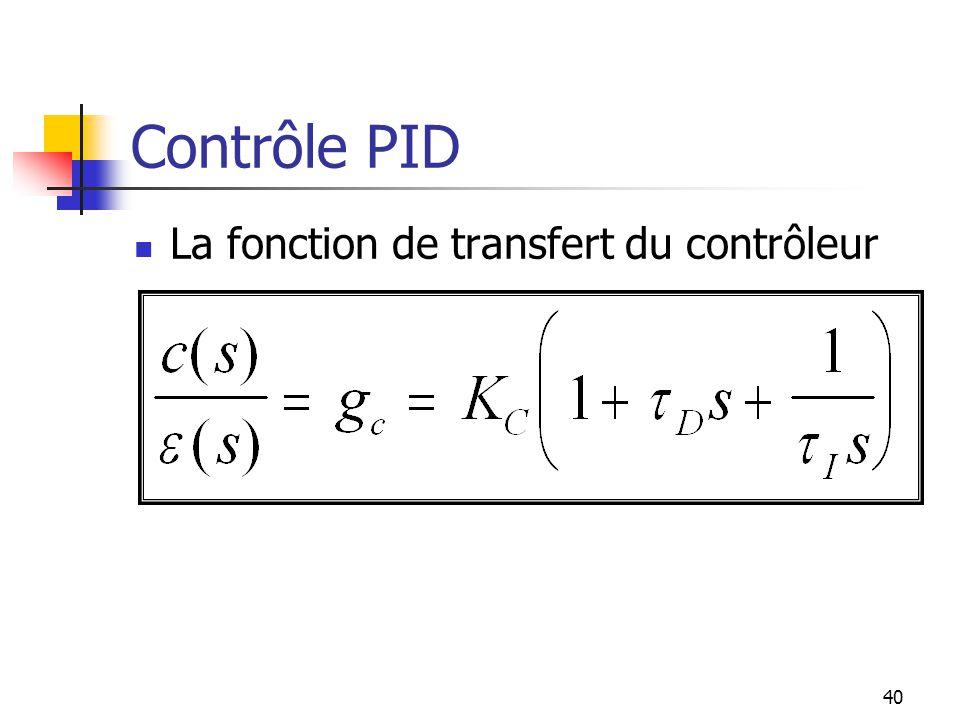 Contrôle PID La fonction de transfert du contrôleur