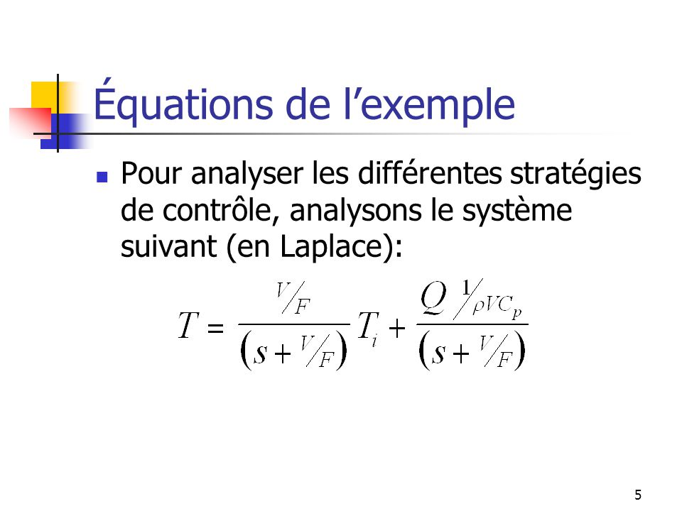 Équations de l'exemple
