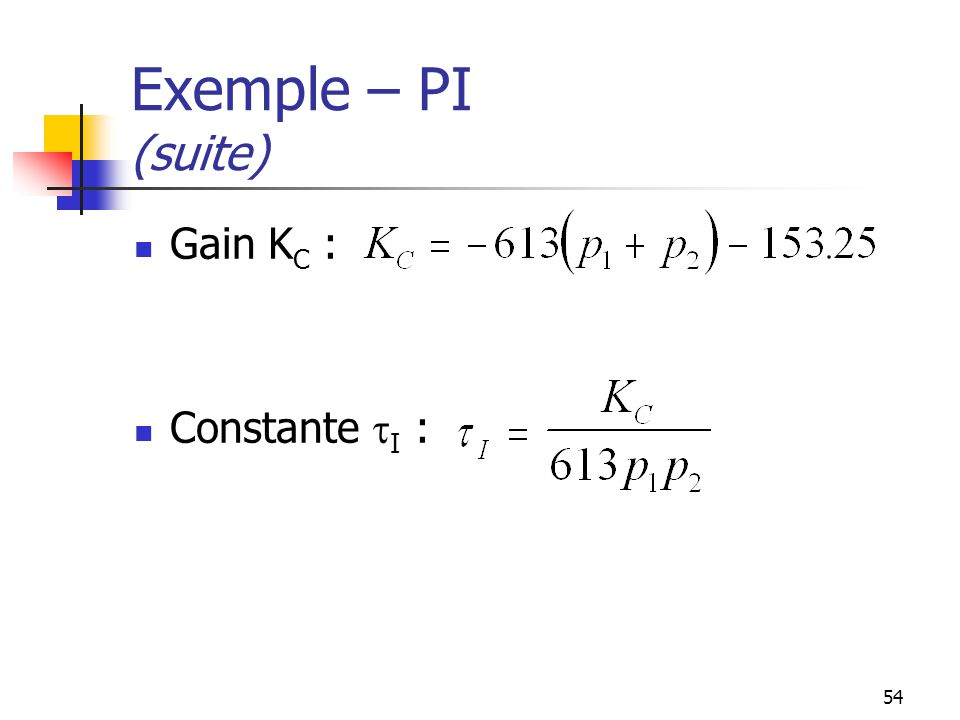 Exemple – PI (suite) Gain KC : Constante tI :