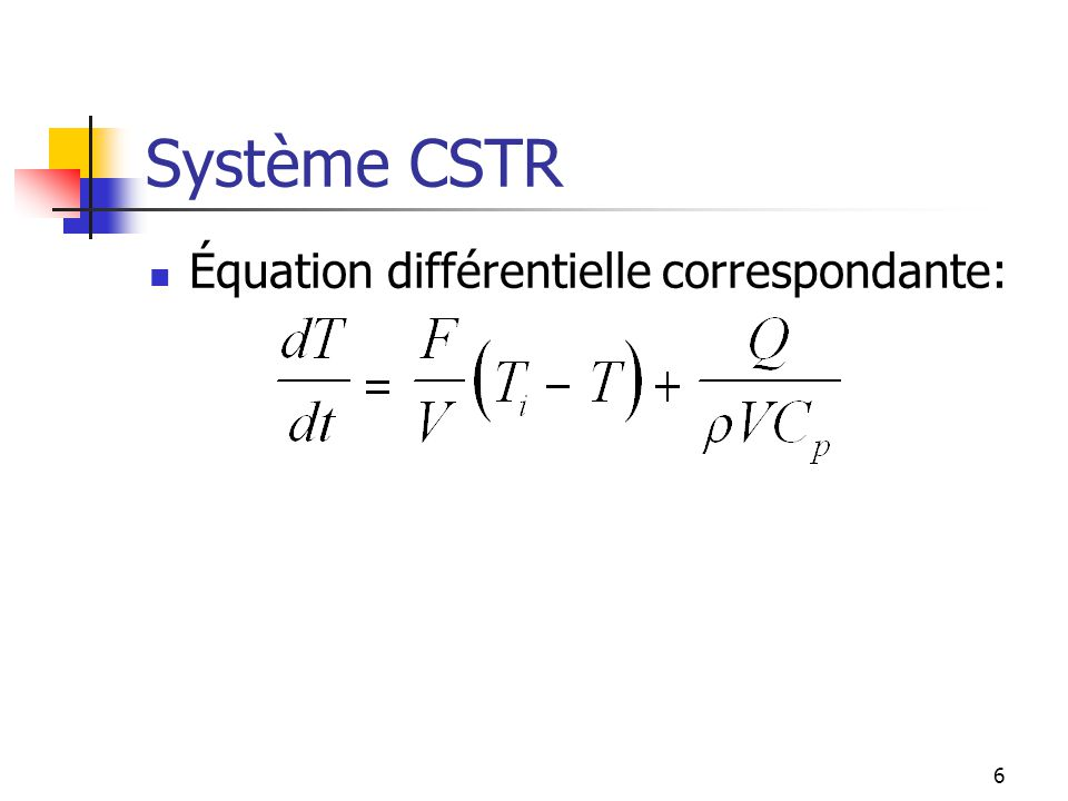Système CSTR Équation différentielle correspondante:
