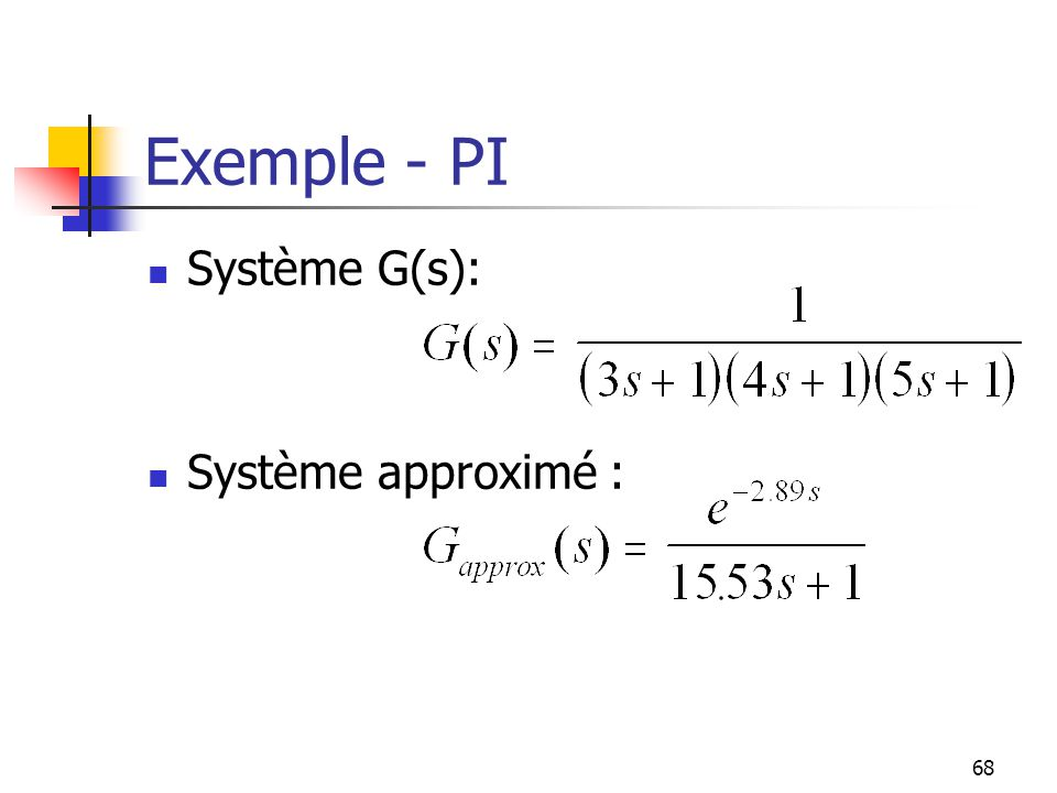 Exemple - PI Système G(s): Système approximé :