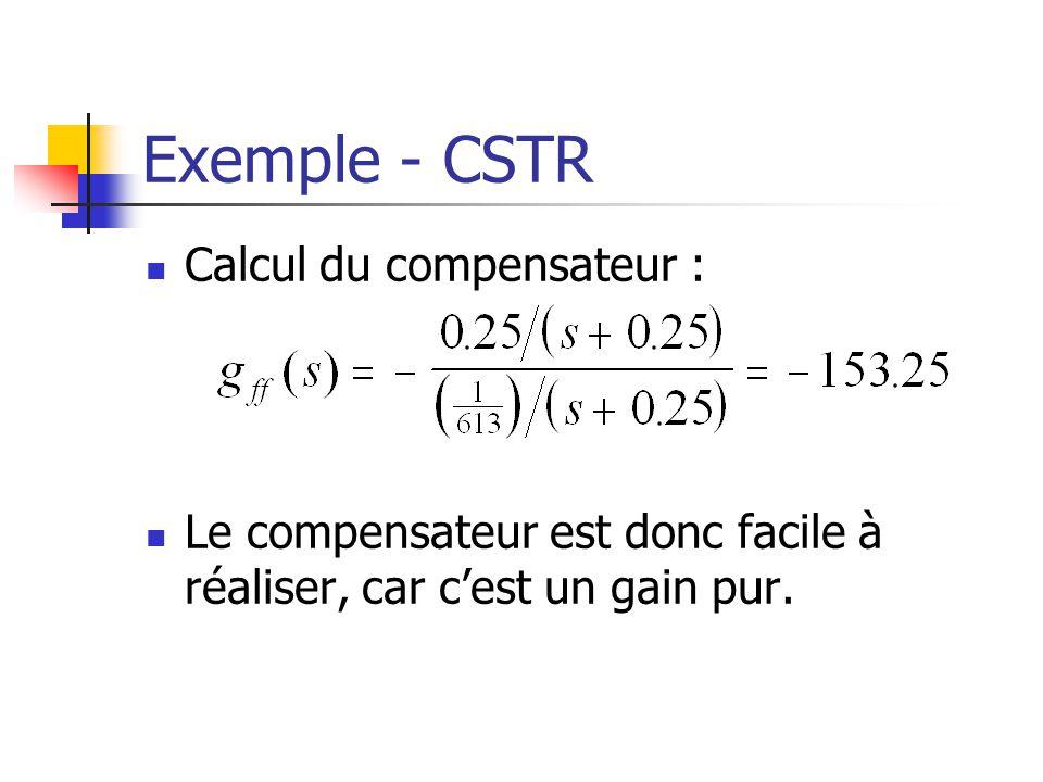 Exemple - CSTR Calcul du compensateur :