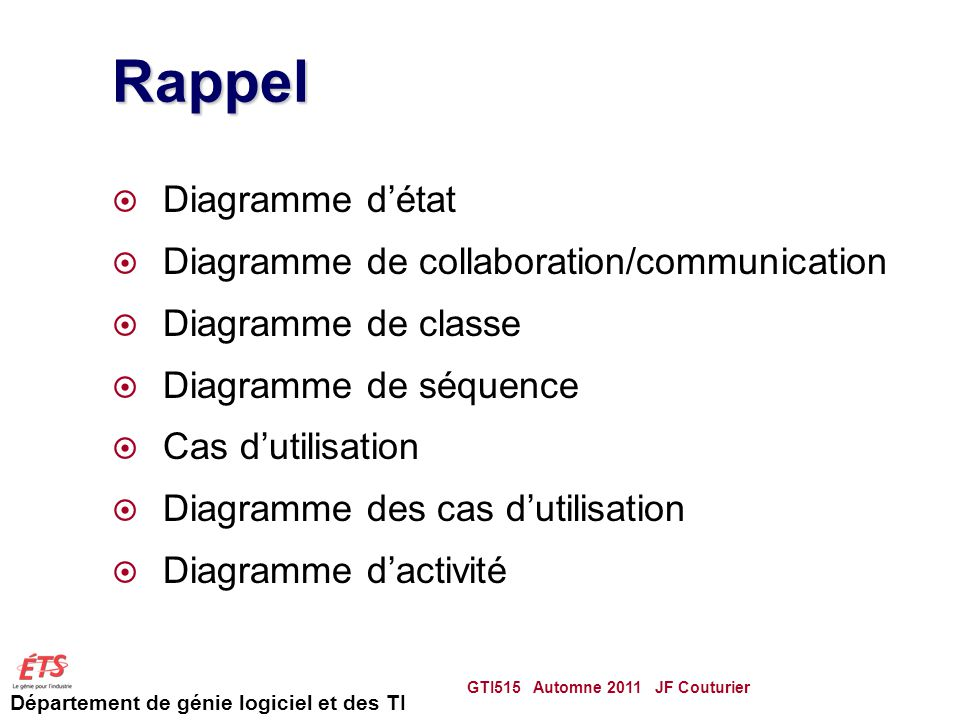 Rappel Diagramme d'état Diagramme de collaboration/communication