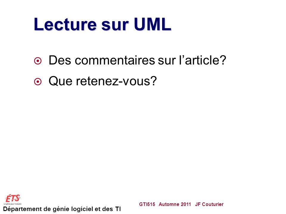 Lecture sur UML Des commentaires sur l'article Que retenez-vous
