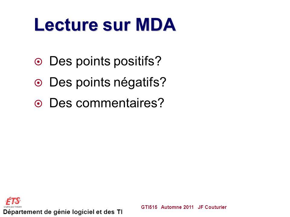 Lecture sur MDA Des points positifs Des points négatifs