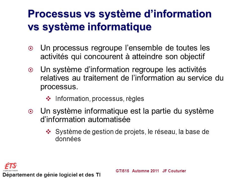 Processus vs système d'information vs système informatique