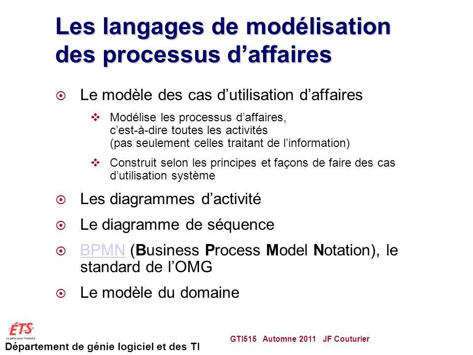 Les langages de modélisation des processus d'affaires