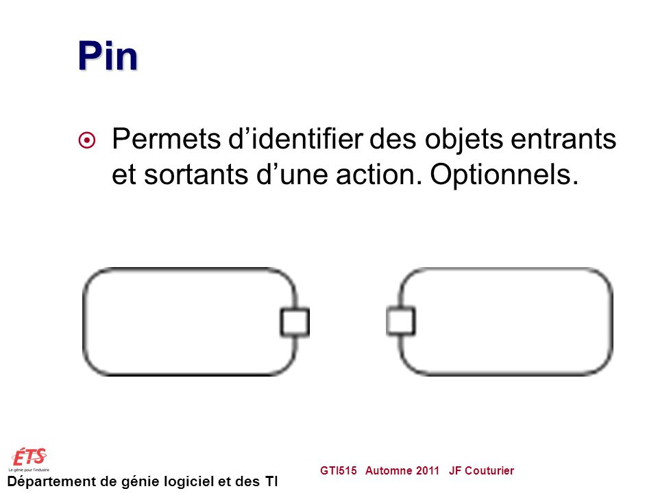 Pin Permets d'identifier des objets entrants et sortants d'une action.