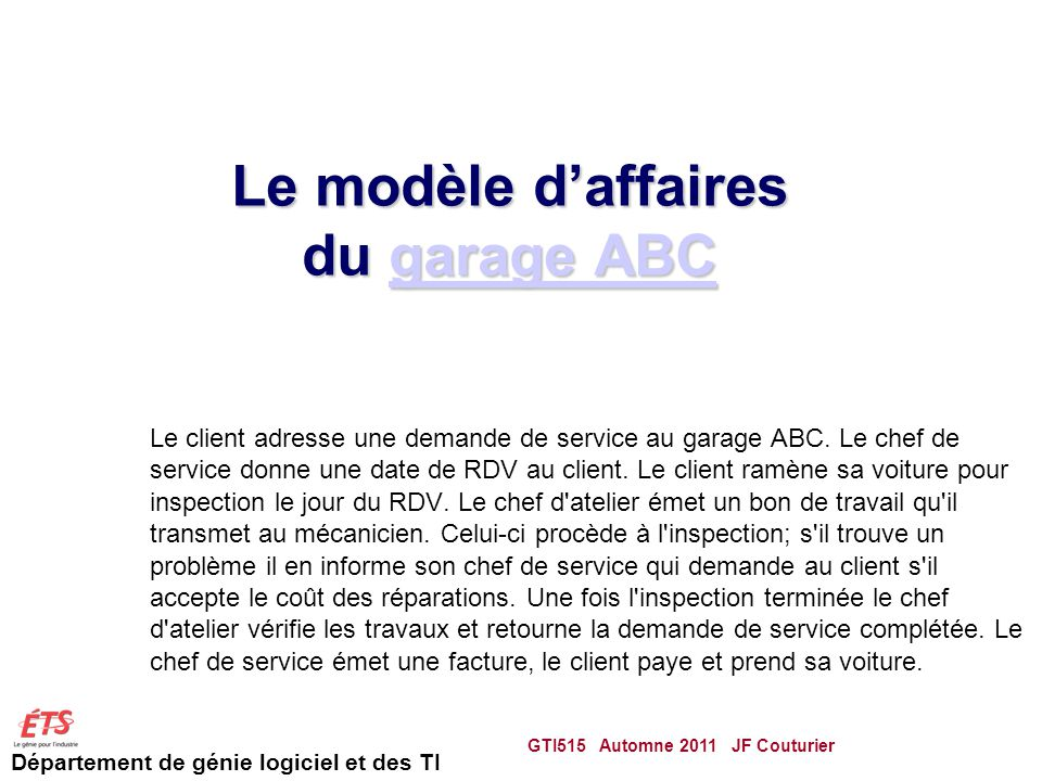 Le modèle d'affaires du garage ABC