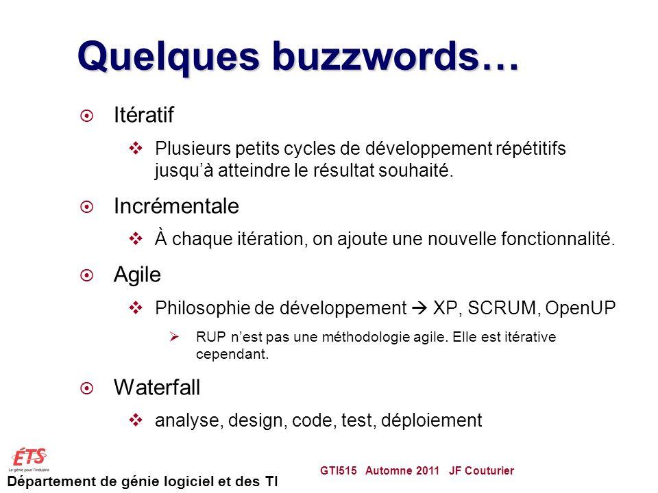 Quelques buzzwords… Itératif Incrémentale Agile Waterfall