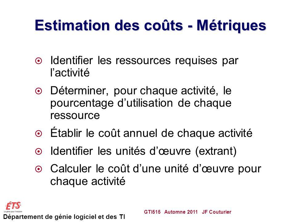 Estimation des coûts - Métriques