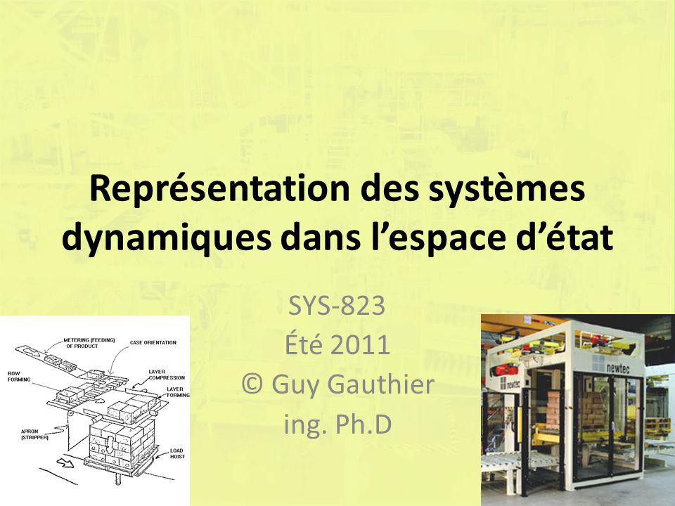 Représentation des systèmes dynamiques dans l'espace d'état