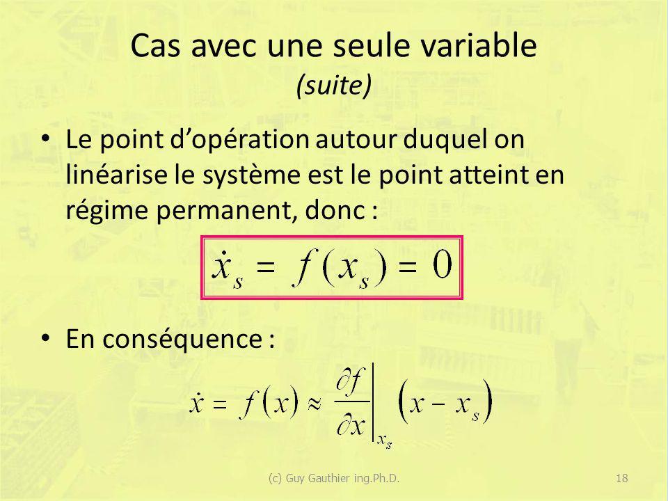 Cas avec une seule variable (suite)