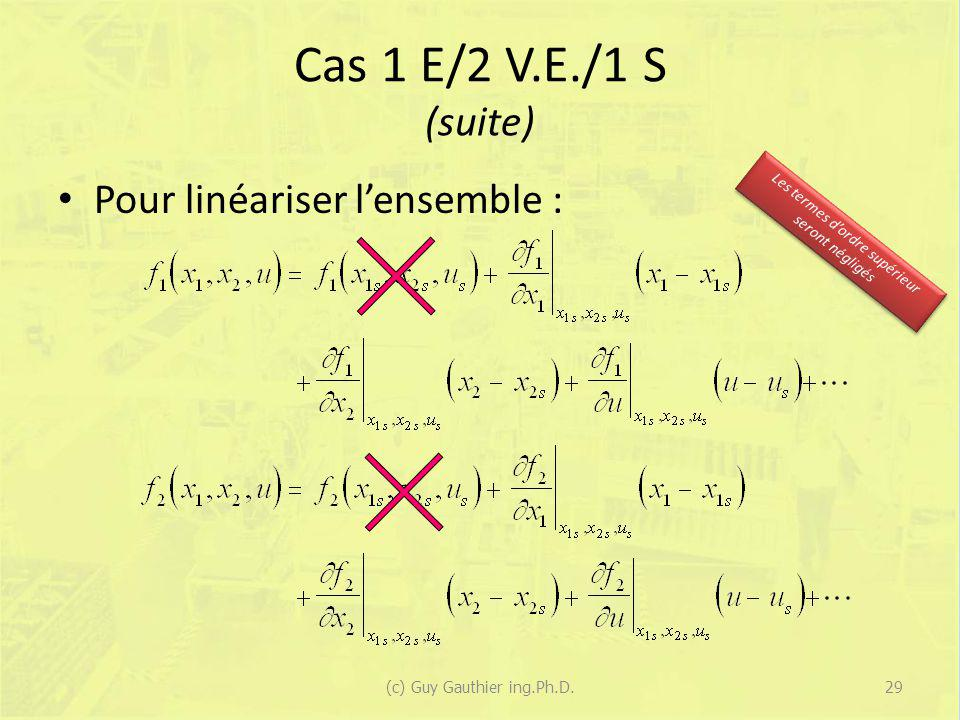 Cas 1 E/2 V.E./1 S (suite) Pour linéariser l'ensemble :