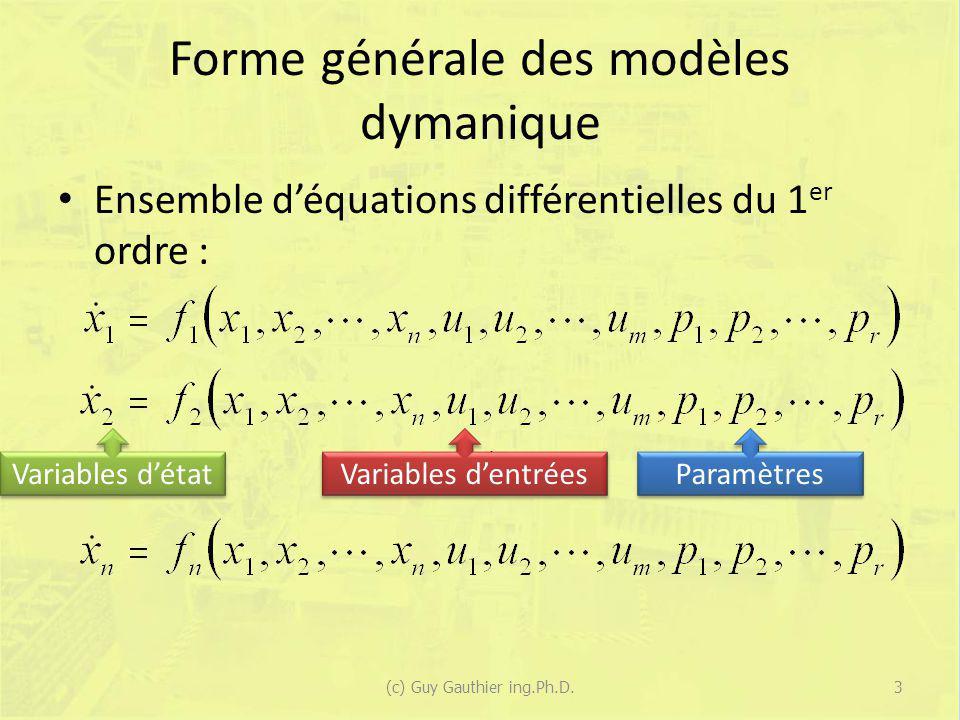 Forme générale des modèles dymanique