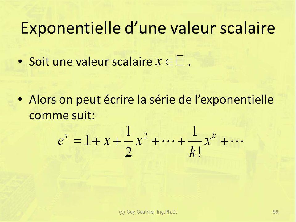Exponentielle d'une valeur scalaire