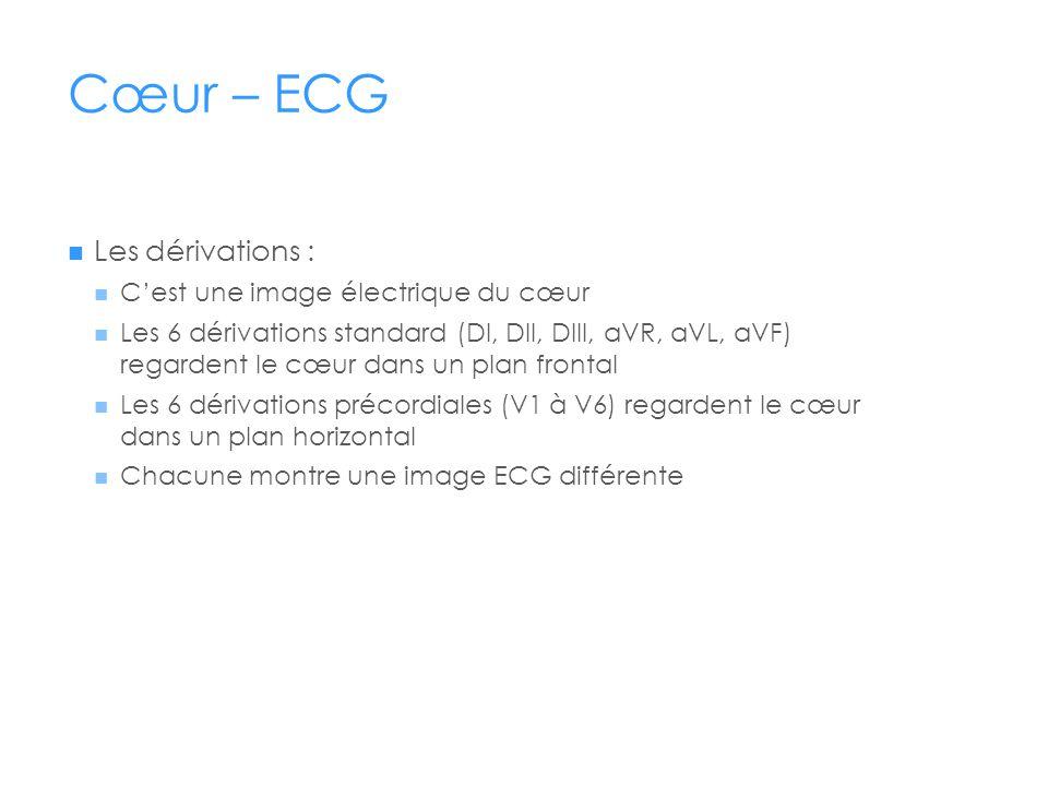 Cœur – ECG Les dérivations : C'est une image électrique du cœur