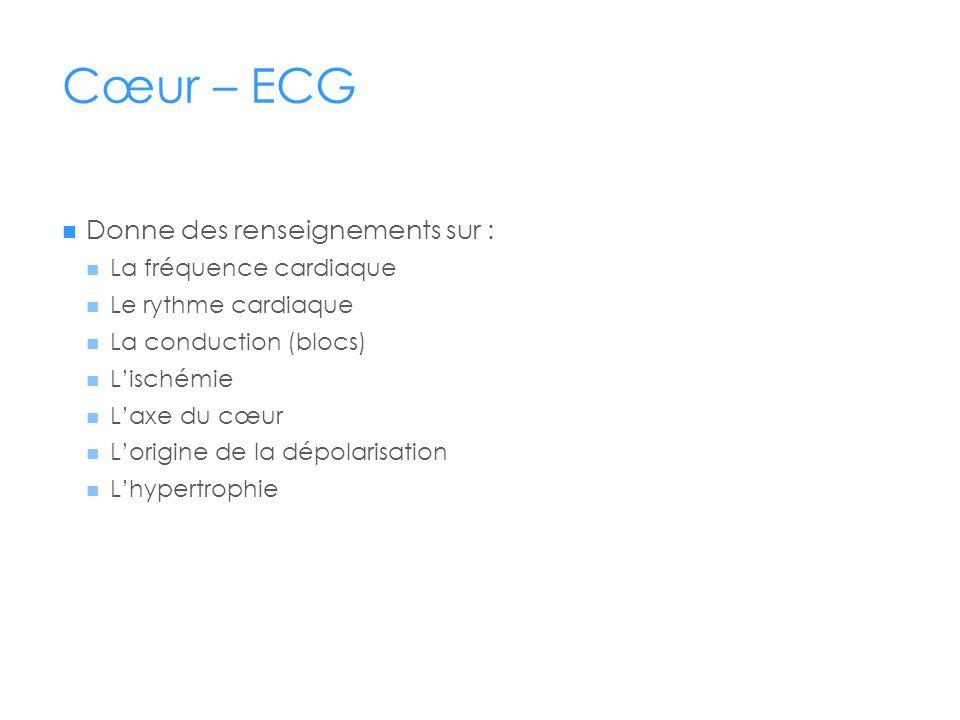 Cœur – ECG Donne des renseignements sur : La fréquence cardiaque