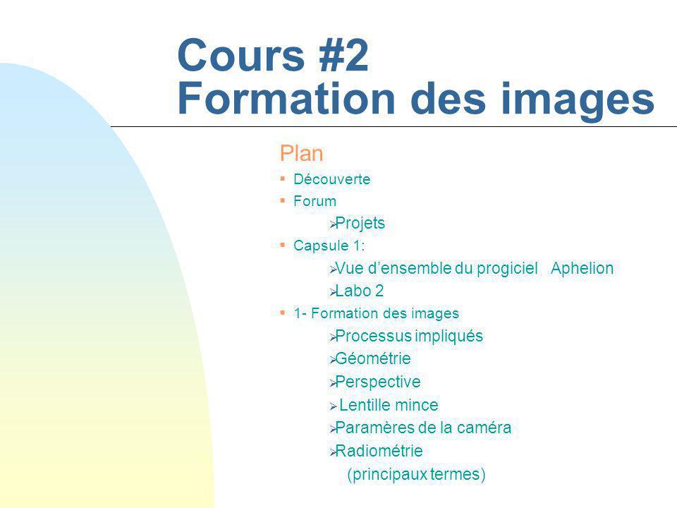 Cours #2 Formation des images