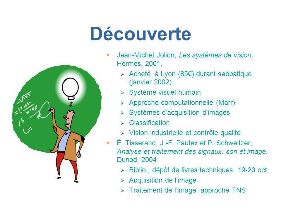 Découverte Jean-Michel Jolion, Les systèmes de vision, Hermes, 2001.