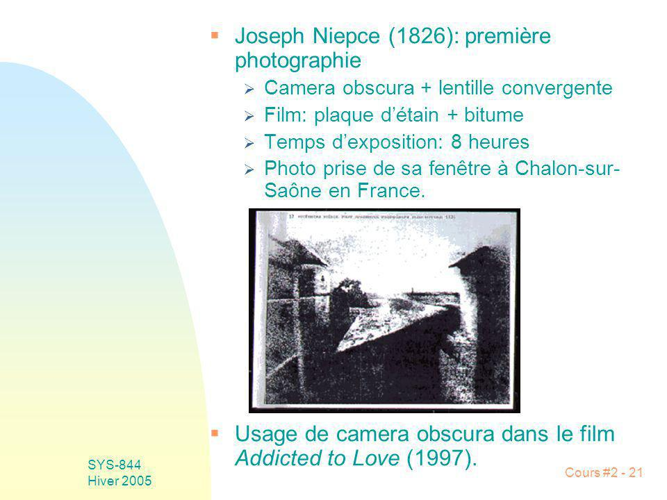 Joseph Niepce (1826): première photographie