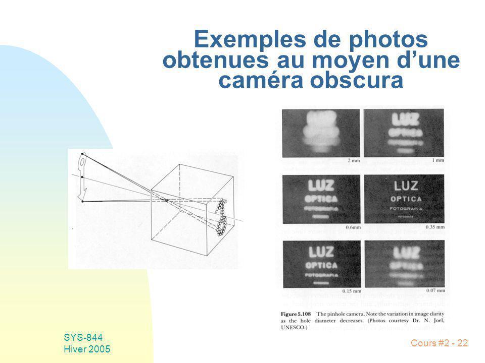 Exemples de photos obtenues au moyen d'une caméra obscura