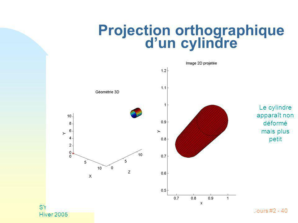 Projection orthographique d'un cylindre