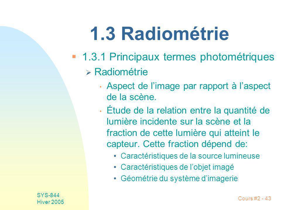 1.3 Radiométrie 1.3.1 Principaux termes photométriques Radiométrie
